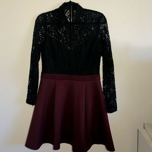 Black and Burgendy Lace Homecoming Dress